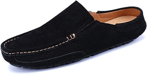 CHENDX Chaussures, Pantoufles Penny Mocassins Pantoufles Slip-on Boat pour Homme en Cuir Véritable (Couleur   Noir, Taille   44 EU)