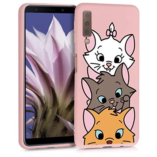 ZhuoFan Cover Samsung Galaxy A7 2018, Custodia Cover Silicone Rosa con Disegni Ultra Slim TPU Morbido Antiurto 3D Cartoon Bumper Case Protettiva per Samsung Galaxy A7 2018, 3 Cat