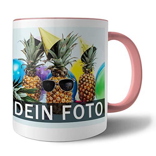 Tasse mit persönlichem Foto und Text zum selbst gestalten (Fototasse, Kaffeebecher mit individuellem Druck, Farbiger Henkel und Trinkrand, mit personalisierbarem Foto, spülmaschinenfest), rosa