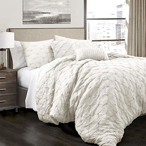 Lush Decor Ravello Shabby Chic Style Pintuck White 5 Piece Comforter Set with Pillow Shams Full/Queen