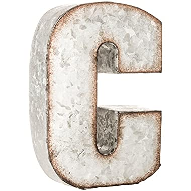 Galvanized Metal 3D Letter C