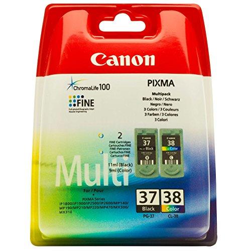 Canon 2145B009 - Cartucho Inyeccion Tinta Colores Pg-37/Cl-38 Pack 2 Blister Sin Alarma Ip/1800/1900/2500/2600 Mp/190/210/220