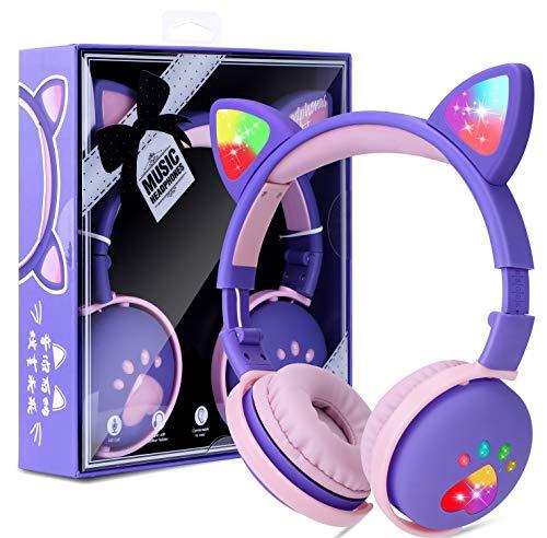 Auriculares para Niños Inalámbricos con Luz LED, Auriculares de Diademacon Orejas de Gato para Niñas, Bluetooth Plegables Auriculares con Micrófono para TV Regalo para Cumpleaños/Navidad (púrpura)