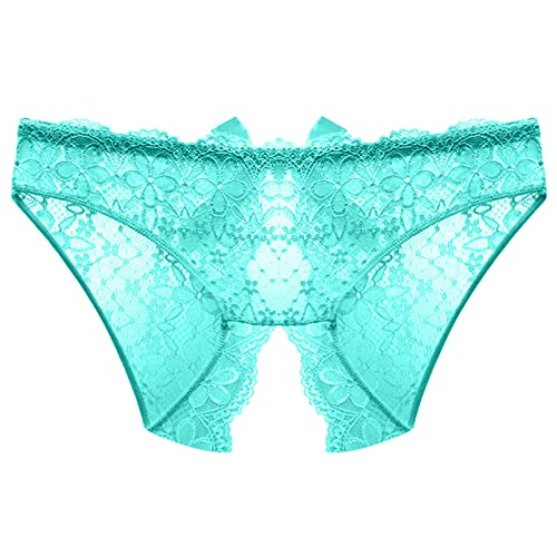 Women's Naughtie Open Gusset Hotpant Panty Lace Boyshort Panties Underwear Sexy Sheer Hipster Panty for Ladies