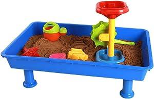 Kid Activity Table Children's Plastic Play Sand Play Water Sand Table Puzzle Space Sand Table Game Table Sand Table Play Sand Play Table For Kids,Boys,Girls ( Color : Blue , Size : 58 x 37 x 17.5cm )