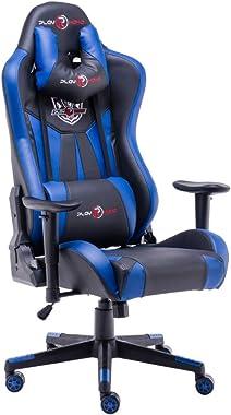 play haha. Chaise de bureau ergonomique de style course avec grand dossier haut et coussin accoudoirs plus grands (bleu, sans