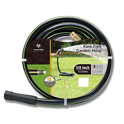 Worth Garden 5/8' x 50' (50 FEET) Kink Free Watering Garden Hose, 12 Years Warranty - Best Hose for Household & Professional USE