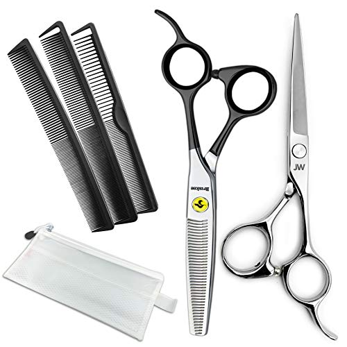 JW Professional Hair Cutting Scissors & Thinning Shear Set with Carbon Comb Set - Razor Edge Series (5.75 Inches)