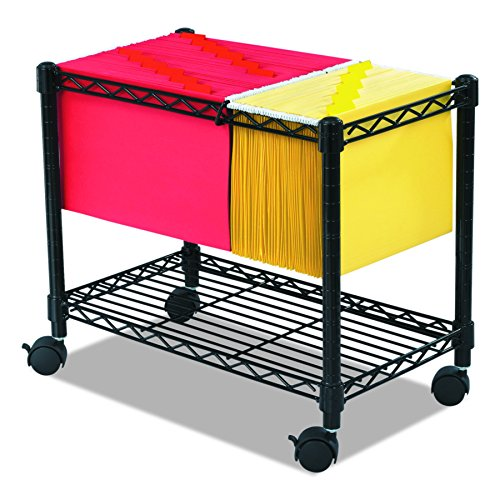 Safco Products Wire Mobile Letter/Legal File Cart 5201BL, Black Powder Coat Finish, Collapsible For Compact Storage