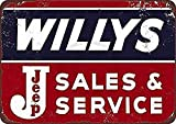 Willys Jeep Sales and Service Blechschild Retro Warnschild