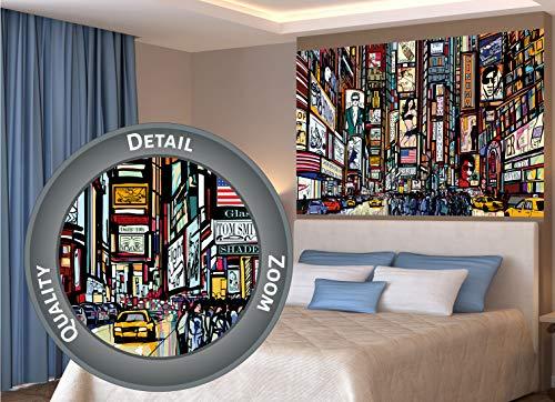 GREAT ART® XXL Poster – Broadway – New York im Comic Style Wandbild Wanddekoration City Skyline Sightseeing Künstler Kunst Illustration Motiv Megastadt Dekoration (140 x 100 cm)