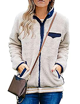 MEROKEETY Womens Long Sleeve Full Zip Sherpa Jackets Patchwork Fleece Coat with Zipper Pockets