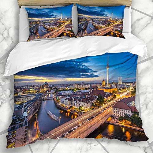 Ensembles de housse de couette Berlin Travel Street Television Allemagne Vu au-dessus de la place Spree Scenic City River Sky Monuments Microfibre douce Chambre décorative avec 2 taies d'oreiller