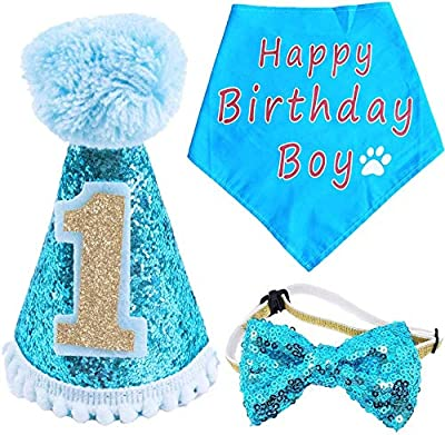 BIPY Dog 1st Birthday Hat Bandana Bowtie for Girls Boys Small Medium Dogs Cats Costumes Headwear