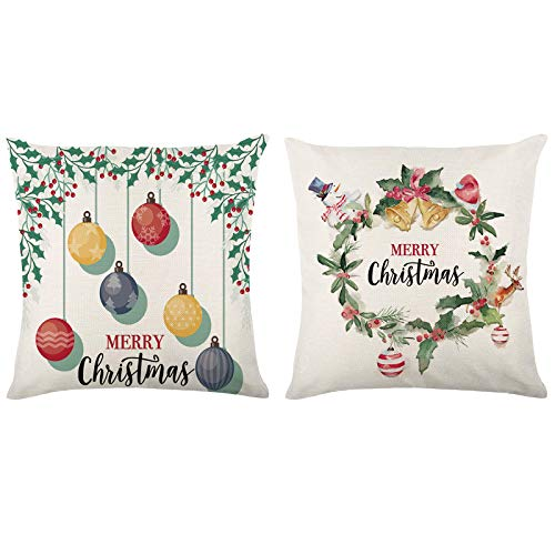 Arokibui Christmas Pillow Covers Set of 2 Christmas Decorations Farmhouse Throw Pillowcase for Sofa Couch 18×18 Inches Winter Holiday Throw Pillows Home Decoration
