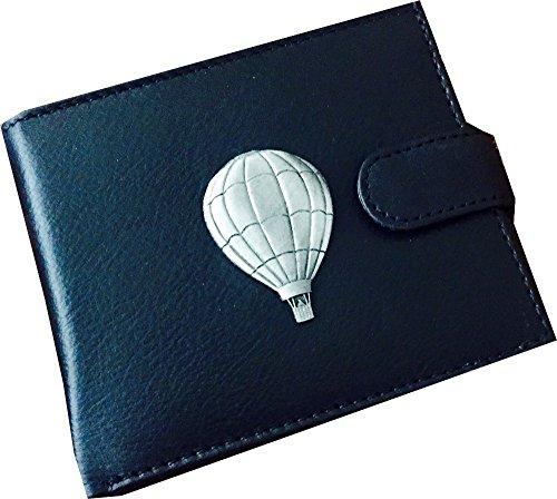 Antieke Pewter Air Balloon Embleem op een Echte Koe Hide Lederen Geld Portemonnee visitekaartje en Credit Card Houder Gift