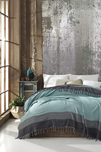 Belle Living Artemis Tagesdecke Überwurf Decke - Wohndecke hochwertig - ideal für Bett und Sofa, 100% Baumwolle - handgefertigte Fransen, 200x250cm (Mint Grün)