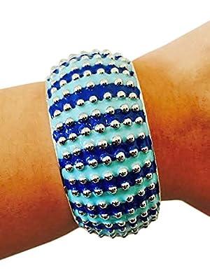 Activity Tracker Bracelet for Garmin VivoFit Trackers - The LISETTE Striped Silver Studded Bangle Bracelet