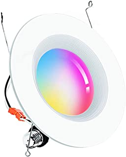 Smart WiFi LED Recessed Retrofit Downlight 5/6 inch, 15W Ceiling Down Lighting Compatible with Alexa,Siri and Google Home, RGBCW Multicolor Color Changing Retrofit Can Lights 2700K - 6500K No Hub