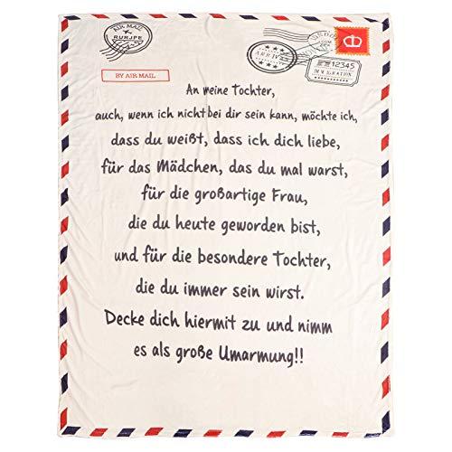 ABOOFAN Brief Gedruckt Wurfdecke Flanell Wurfdecke Geschenk von Mutter Vater Personalisierte Geburtstag Winter Geschenk Bett Wohnzimmer Decke (Tochter Deutsch 1)