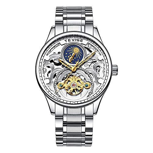 TEVISE Automatische Mechanische Uhr Mondphase Zeitanzeige Edelstahlband Männliche Armbanduhr