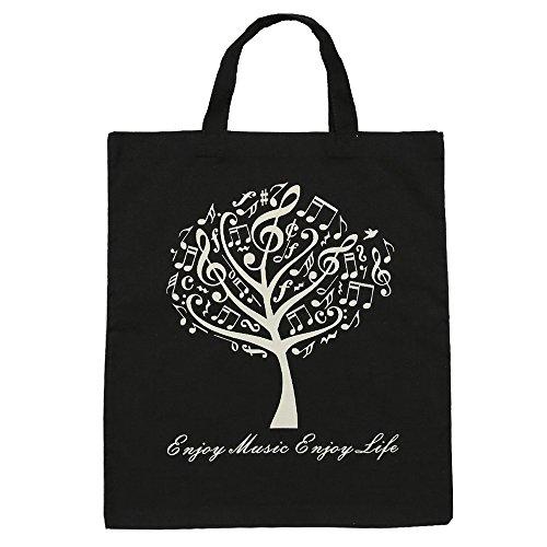 KingPoint Baumwollhandtasche Damen Einkaufstaschen, bedruckt mit Notenschlüsseln, hohen Noten und Musikinstrumenten Designs. Music Tree Black