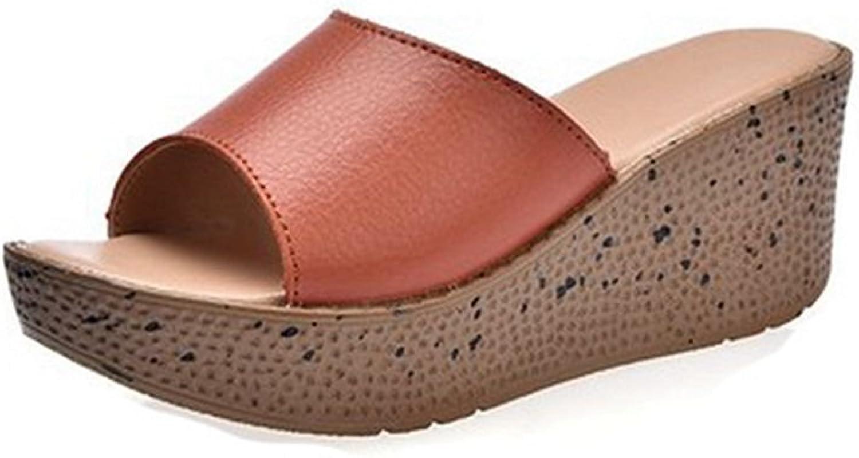 GIY Women's Fashion Wedges Platform Sandals Slides Open Toe Chunky High Heel Dress Beach Sandals