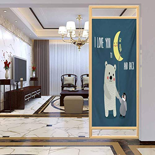 "W 35.4"" x L 78.7"" UV Glass Film Window Home Office Living Room,Teddy Bear and Penguin Best Friends Arctic Lovers Under Moon CartoonSlate Blue Grey Yellow"
