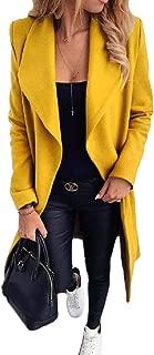 Womens Trench Coat Long Sleeve Pea Lapel Open Front Long Jacket Overcoat Outwears