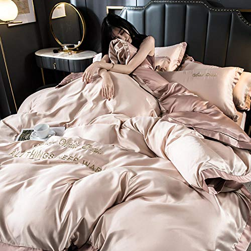 geek cook Bedding Set,Spring and summer ice silk four-piece embroidery European-style quilt bed simple color simple naked sleeping silk bedding-Pink jade champagne_2.0M bed-(four-piece bed sheet set)