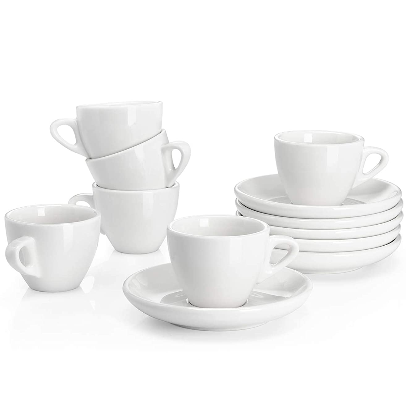 Sweese 4304 Porcelain Espresso Cups with Saucers - 2 Ounce - Set of 6, White