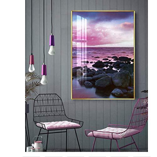 WEDSA Mural Lienzo Pintura Cartel decoración del hogar Pintura de Lienzo California Beach Poster Palm Art Print Light Blue Wall Art Decoración nórdica Imágenes Decoración Costera 30x40cmx3 Sin Marco