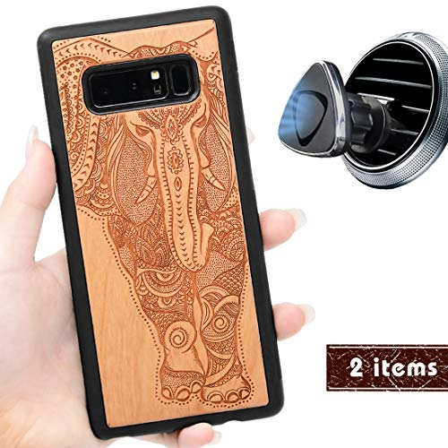 iProductsUS Wood Phone Case Compatible with Samsung Galaxy Note 8 and Magnetic Mount, Engrave Unique Elephant, Built-in Metal Plate, TPU Protective Shockproof Covers (6.3 inch)