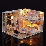 Blusea - Kit de loft en miniatura, casa de muñecas realista, decoración de color rosa, juguete de madera, con muebles y luces LED, ideal como regalo de navidad o cumpleaños para niños