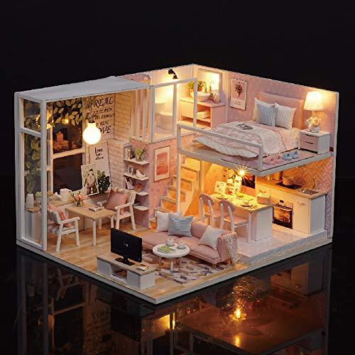 Blusea Häuser für Minipuppen,DIY Miniatur Loft Puppenhaus Kit Realistische Mini 3D Rosa Holzhaus Zimmer Spielzeug mit Led-leuchten (No Cover)