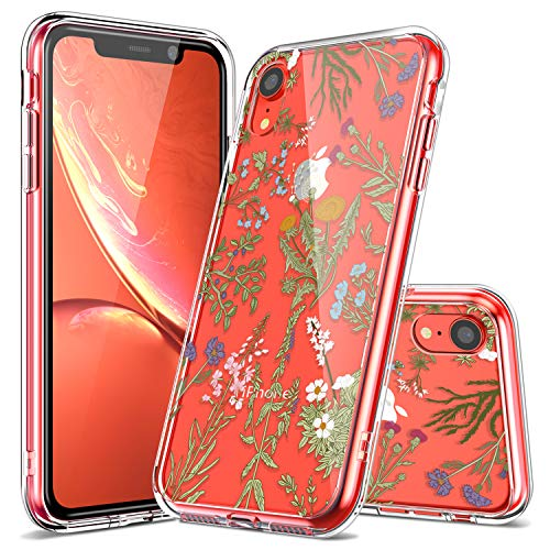 iPhone XR Case, LUHOURI Clear iPhonex XR Case, Girls Women Heavy Duty Protective Hard PC Back Case with Slim Soft TPU Bumper Cover Phone Case for iPhone XR, Green Grass