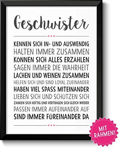 Geschwister-Liebe Bild im schwarzem Holz-Rahmen Geschenk Geschenkidee Bruder Schwester