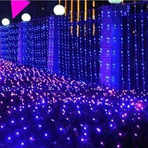 ZLBZBB Lichterkette Netto Netto-Licht, 1.5x1.5m Vorhang Fairy Light, 8-Modus-Controller, Geeignet für Urlaub, Partys, Außenwände, Hochzeit Dekorationen Blue