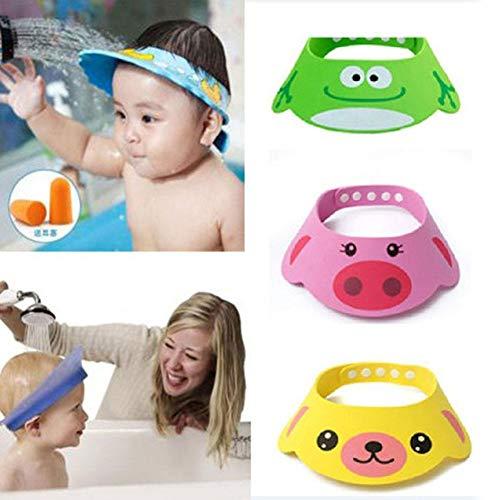 3Pcs Cuffia da doccia per bambini Cappello da lavaggio per bambini Cappello regolabile per cartoni animati Shampoo da bagno Cuffia da doccia Lavaggio Protezione per capelli Scudo Visiera diretta Caps