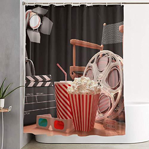 KGSPK Cortinas de Ducha,Objetos de la Industria cinematográfica Hollywood Motion Picture Cinema Tography Concepto,Cortina de baño Decorativa para baño,bañera 180 x 180 cm