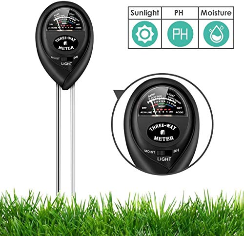 MUDSHI Soil Test Kit, 3-in-1 Soil Tester with Moisture, Light and PH Test, Double Needle Design Soil PH Meter for Home/Garden/Farm/Lawn/Indoor & Outdoor