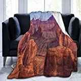 Ultra-Soft Fleece Blanket for Adult Anti Fleece Blanket,View of Deep Canyon with Different Scaled Length Red Rocks Discovery Artwork Theme,Soft Comfortable Sofa Throw Blanket 50'x40'
