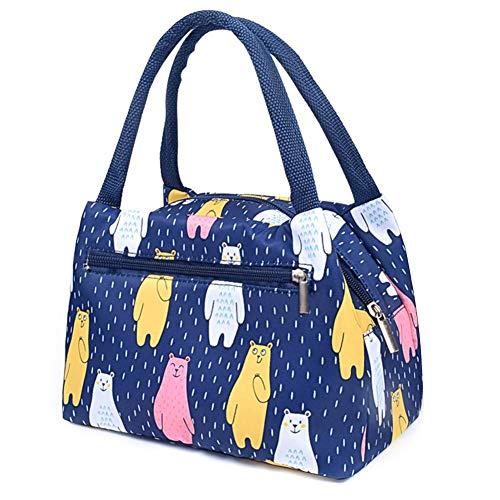 Estink Kühltasche Klein Picknicktasche Lunch Tasche Lunch Bag Thermotasche Isoliertasche Mittagessen Faltbar Wasserdicht für Arbeit, Schule, Picknick,Bär