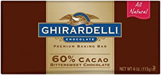 Ghirardelli Chocolate Baking Bar, 60% Cacao Bittersweet Chocolate, 4-Ounce Bars (Pack of 12)