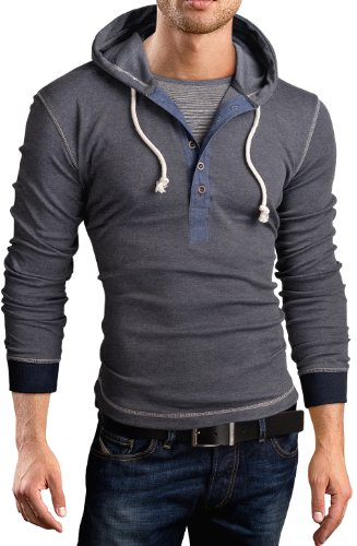 Grin&Bear Slim Fit Sweat Shirt, Pull à Capuche, 2 in 1 Contrast, Manches Longues, Gris, S, BH130