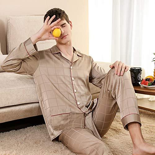 STJDM Camicia da Notte,Pigiama Uomo Primavera Estate Seta Ghiaccio Manica Lunga Homewear Sezione Sottile Simulazione Plaid di Seta Color Oro Set Coreano Indumenti da Notte XXXL Oro