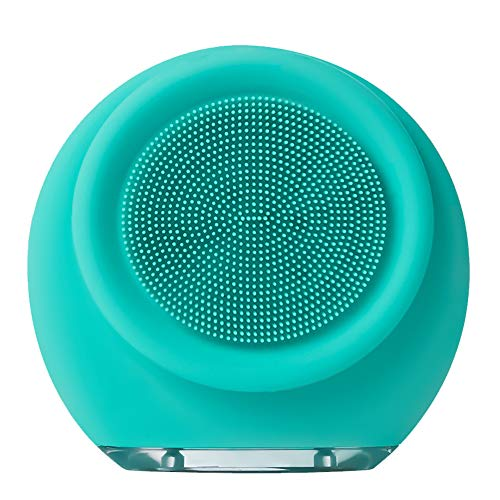 Facial Cleansing Brush, Face Massager Silicone Ultrasonic Vibrating Facial Brush, IPX6 Waterproof and Rechargeable Hand-held Electric Cleansing Instrument for Deep Cleansing (Grass Green Plus)
