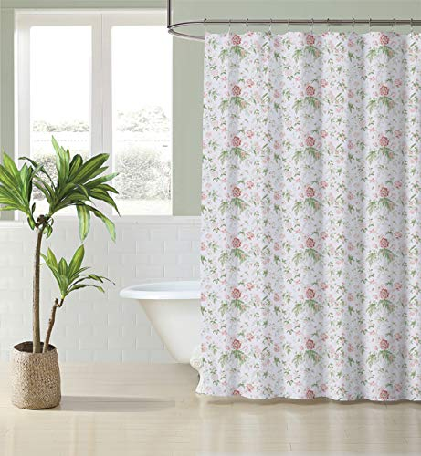 Laura Ashley Home   Breezy Floral Collection   Shower Curtain-100% Cotton, Buttonhole Top, Machine Washable Easy Care, 72 x 72, Pink