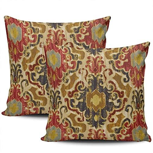 BONRI Funda de almohada decorativa para el hogar, color naranja, rojo, verde, Ika Square Throw fundas de cojín, 40,6 x 40,6 cm, juego de 2