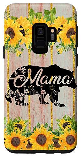 Galaxy S9 Mama Bear Rustic Woodgrain Sunflower Farmhouse Country Mama Case